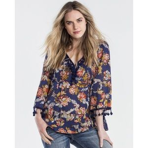 Miss Me Floral Frenzy Peasant Top Small boho